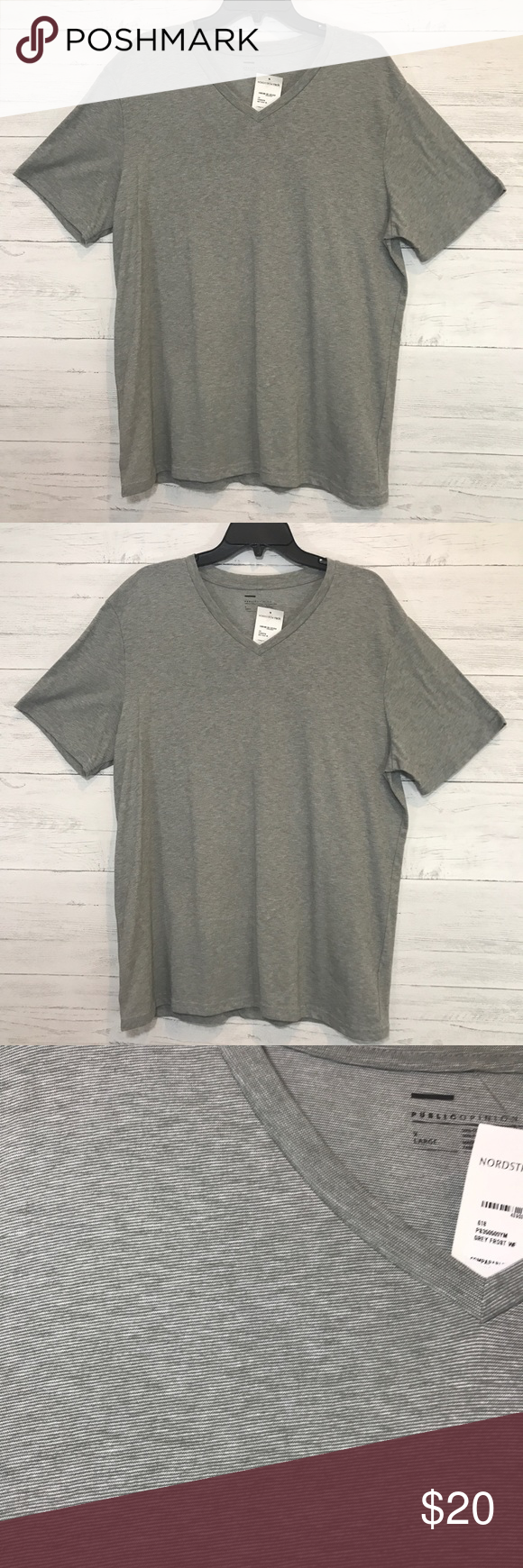 8fb337342 Public Opinion Men's V-Neck T-Shirt Grey NWT Color Grey Frost Size X-Large Short  sleeves V-neck public opinion Shirts Tees - Short Sleeve