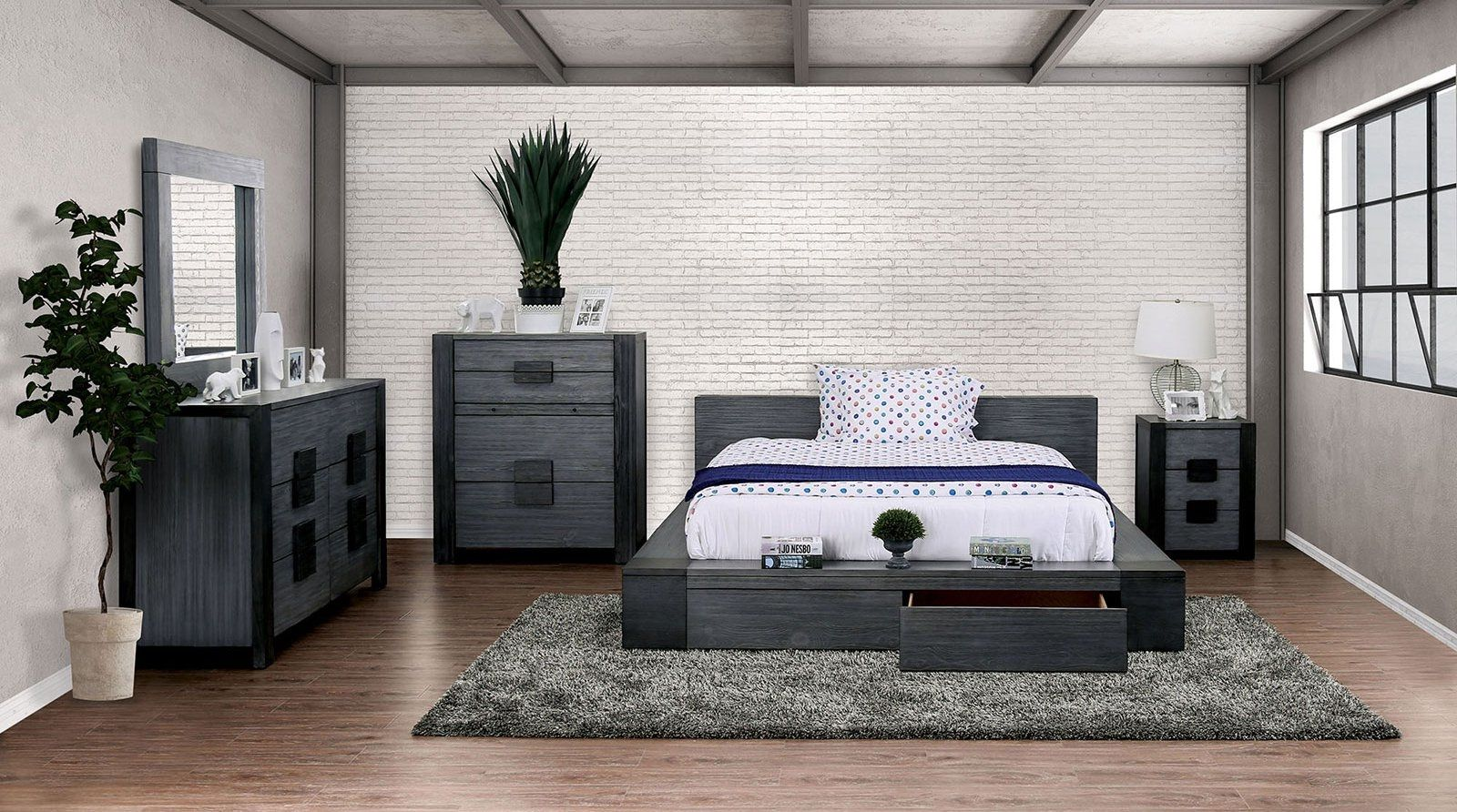 Furniture Of America Janeiro Gray Lowprofile Rustic Solid