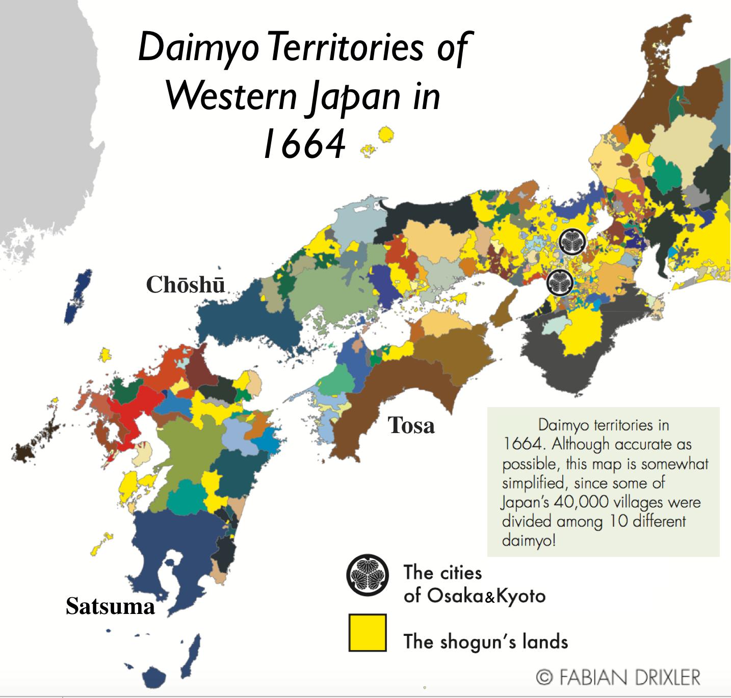 Daimyo Territories In Western Japan By Fabian Drixler Map - Japan map png