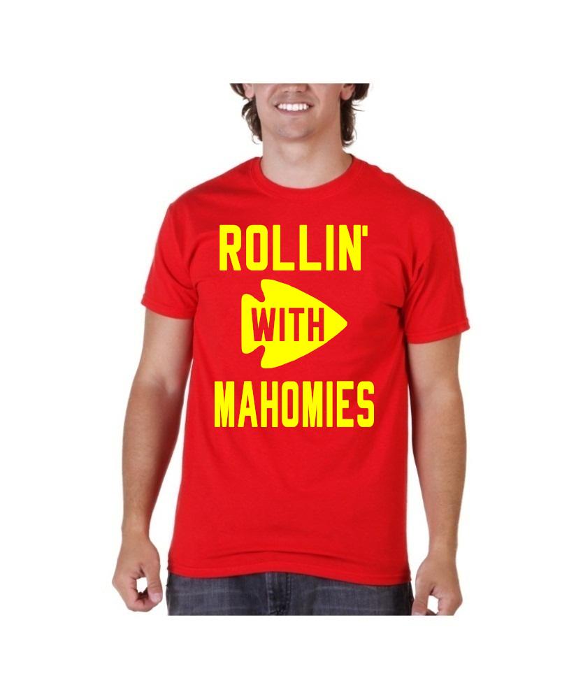 b90208e1c41 Patrick Mahomes Red Shirt Kansas City Chiefs Rollin' with Mahomies ...