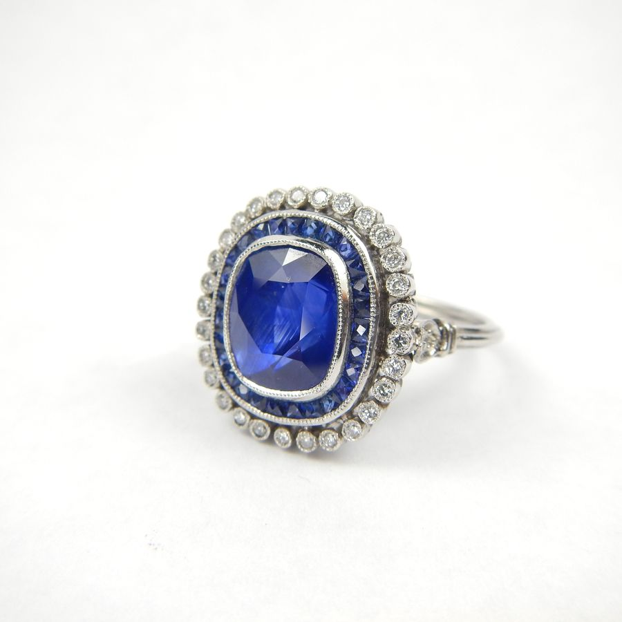 Engagement Rings Galway: RING AMS 6114 Superb Sapphire And Diamond Ring Available