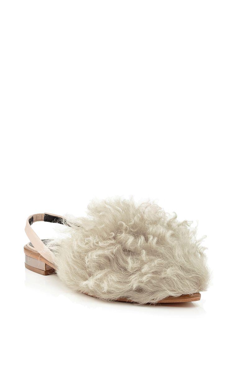 Shearling Weston Slingback Flats by Tibi Now Available on Moda Operandi