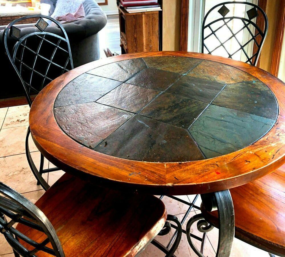 Slate Oak Wrought Iron 6 Piece Kitchen Set W Wine Bread