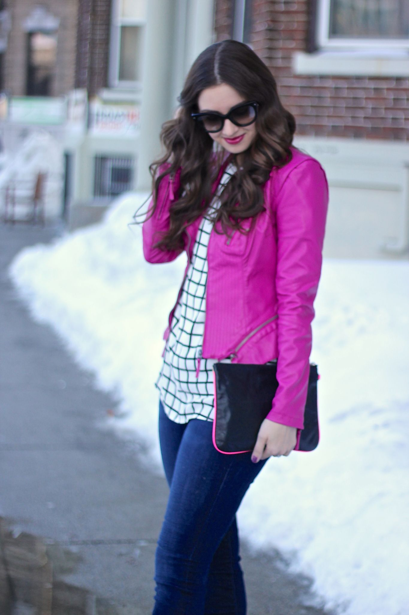 Magenta Pink Leather Jacket over Grid Print Blouse