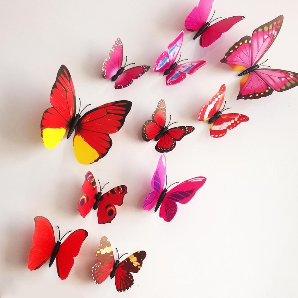 3D butterfly Art Decor PVC butterflies Mural wall stickers 12 pcs Red