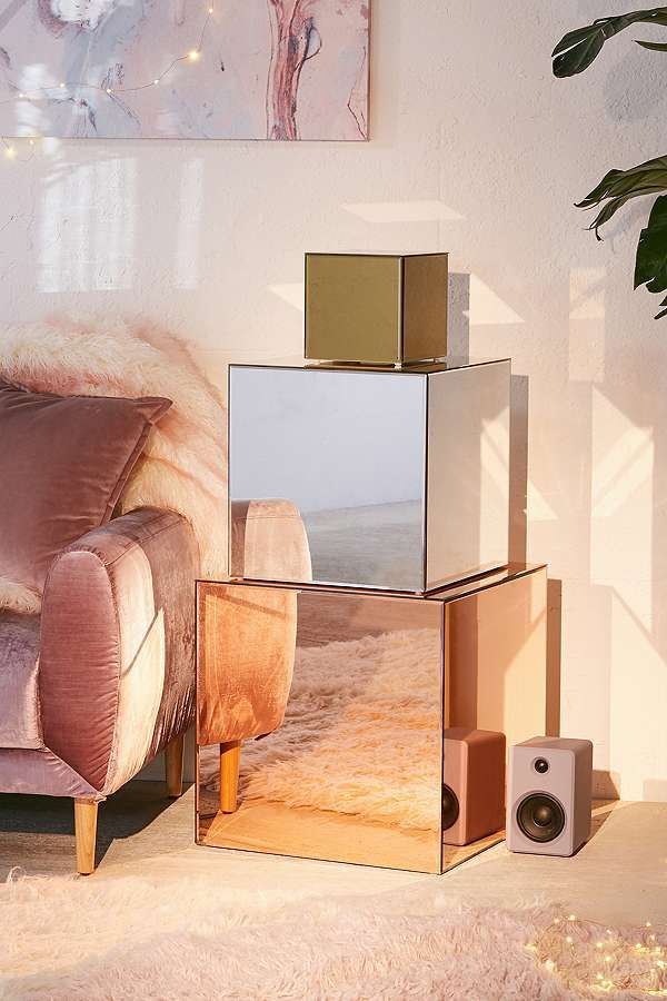 Slide View 2 Copper Mirrored Cube Mismatched Living Room Furniture Home Decor Interior