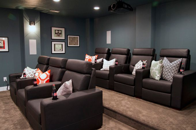 theatre room chairs swivel hunting chair reviews four furniture cadence homes day 2 paint colors sherwin williams refuge sw 6228 media decor rooms design