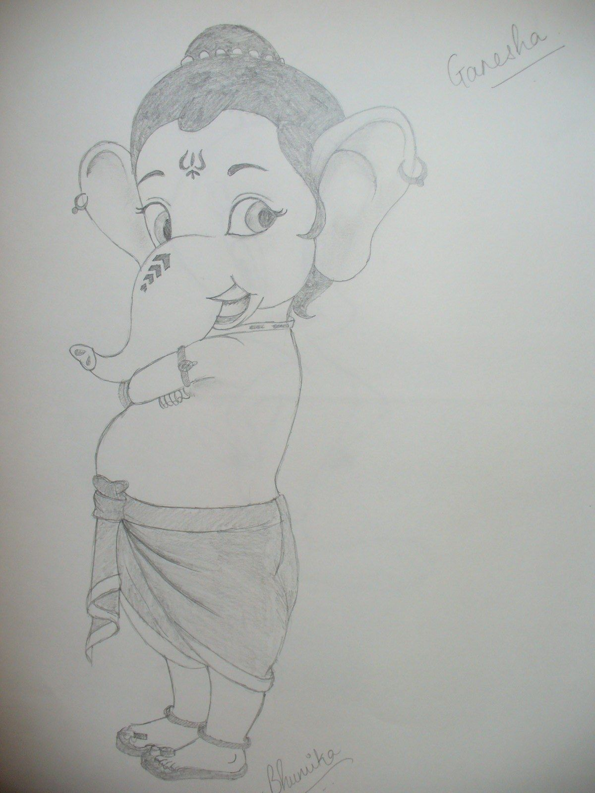 Ganesha pencil drawing girl pencil sketch
