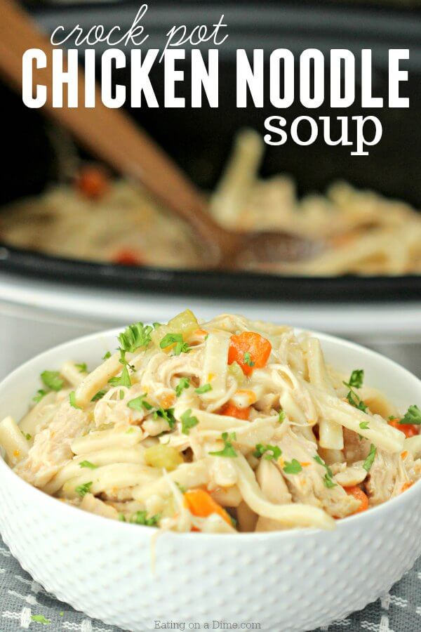 Crockpot Chicken Noodle Soup #easycrockpotchicken