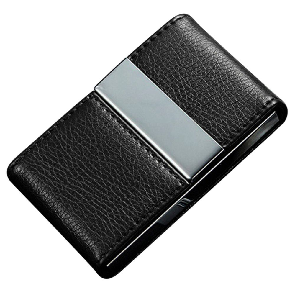 Stainless Steel Credit Card Holder Faux Leather Case Box Id Business