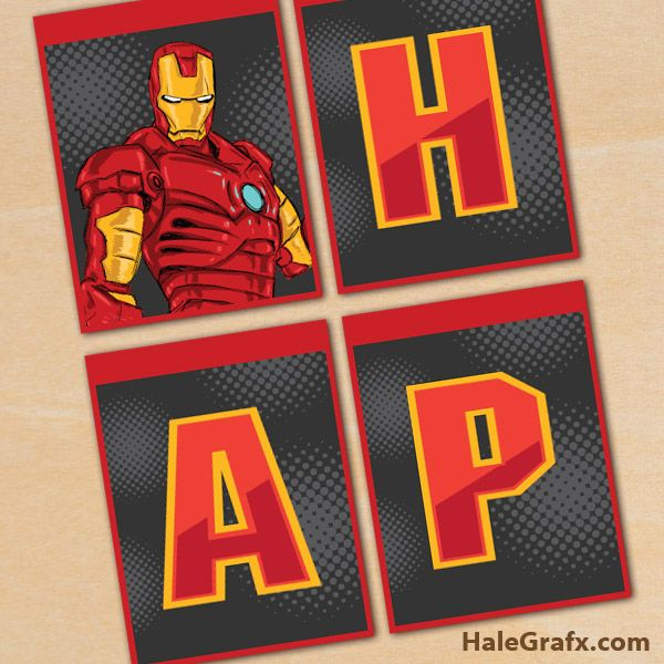 FREE Printable Iron Man Birthday Banner ComicsSuper Heroes