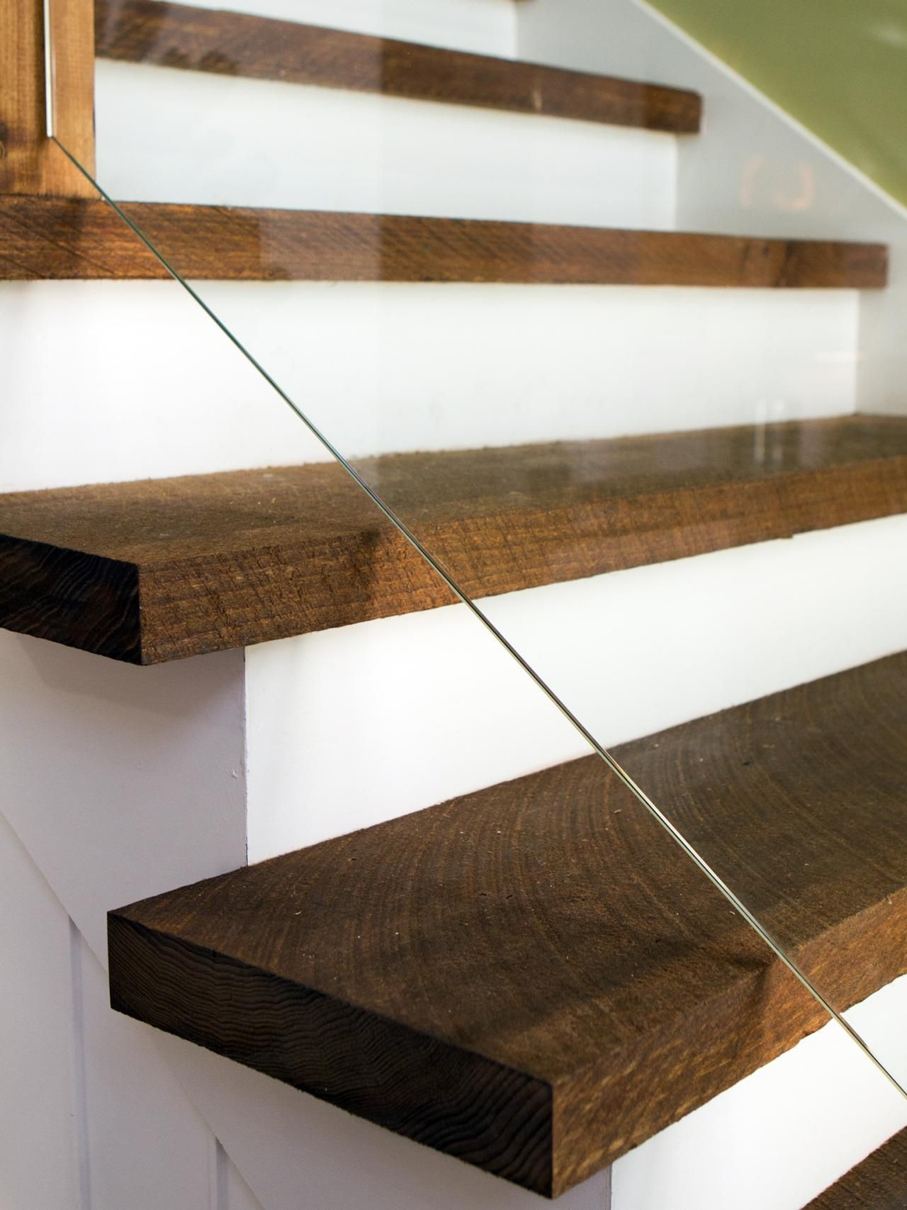 ... Treads And Risers · Reclaimed Wood Planks In A Dark Stain Are Used For  The Stair ...