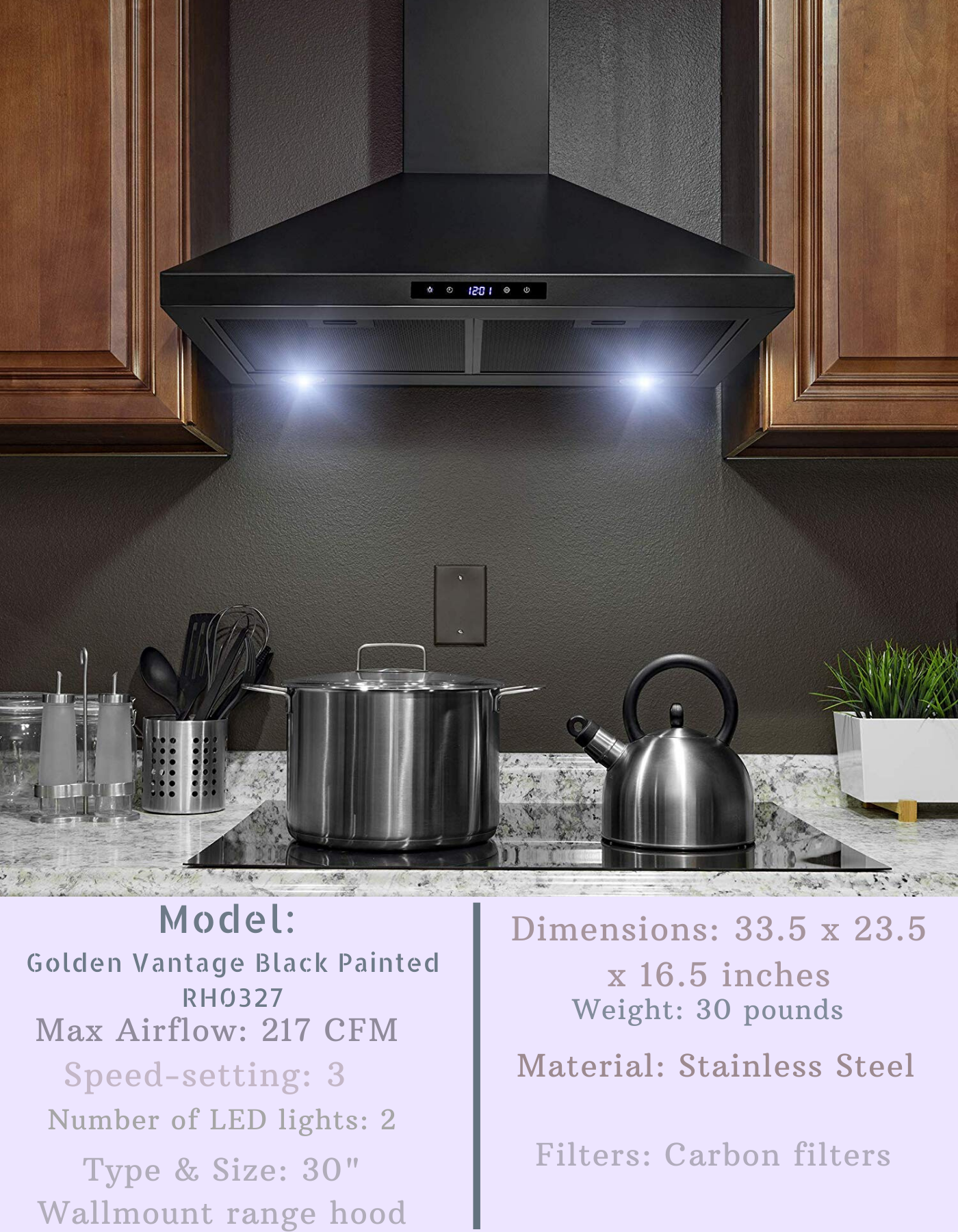 Golden Vantage Black Painted Range Hood Range Hood Cool Walls Wall Mount Range Hood