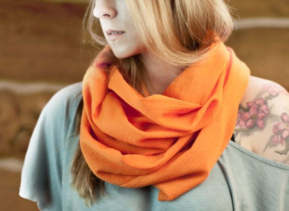 Orange Infinity Scarf Orange Scarf Boho Cotton by ForgottenCotton