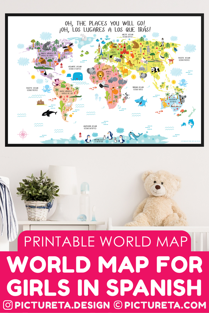 World map for kids spanish english digital download spanish are you teaching your child to speak spanish and english picturetas instant download printable world gumiabroncs Gallery