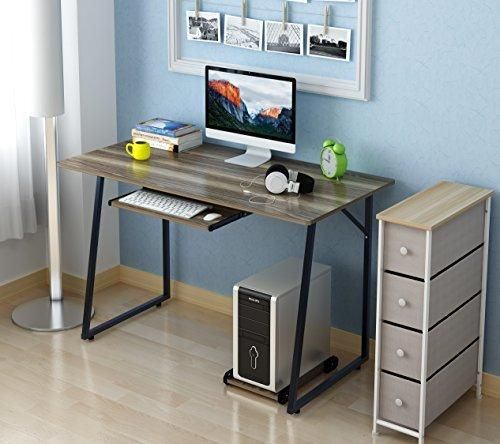 Soges Computer Desk 47 Pc Desk Office Desk With Pullout Keyboard Tray Workstation For Home Office Use Writing Table Walnut Office Desk Pc Desk Desk