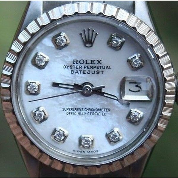 Pre-owned Rolex Steel Ladies 26mm Datejust Watch Warranty Vintage 1969... ($3,339) ❤ liked on Polyvore featuring jewelry, watches, accessories, none, rolex watches, diamond watches, vintage wrist watch, rolex and vintage watches