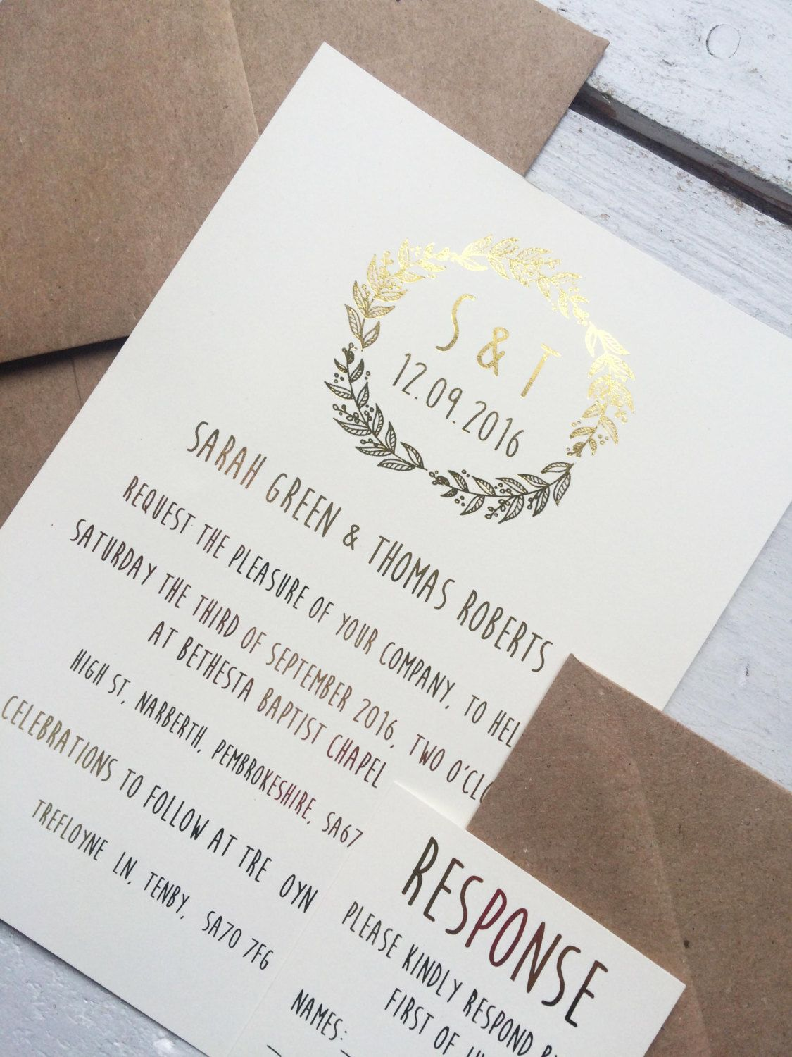 Rustic Wedding Invitation Gold Foil Wedding Invitation Bohemian
