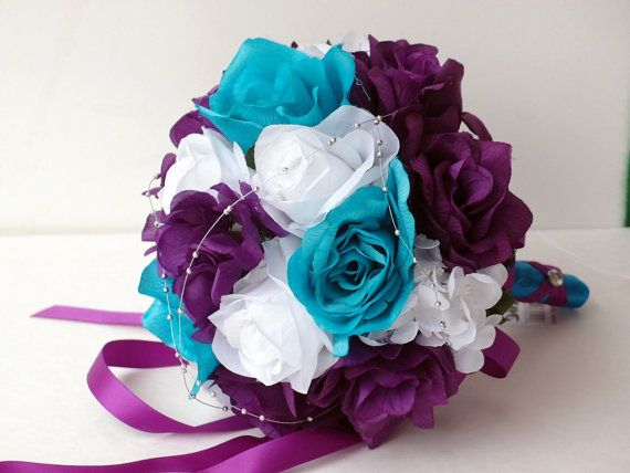Wedding Bouquet Purple White Turquoise And Silver Roses