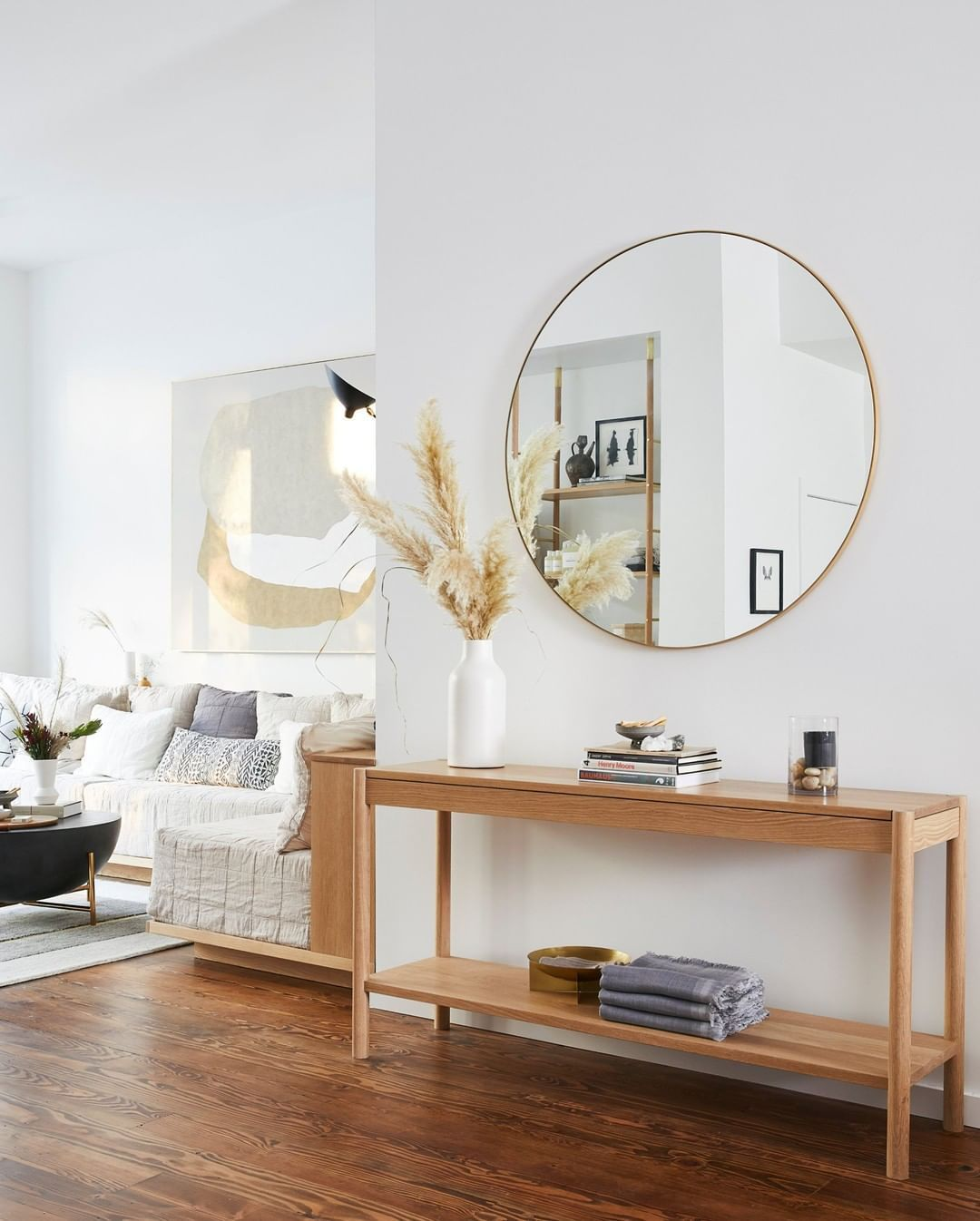 Home Decor Circle Mirror Living Room White And Wood Interior Design Havenlylivingroom Home D Living Room Mirrors Havenly Living Room Living Room White Mirror living room ideas