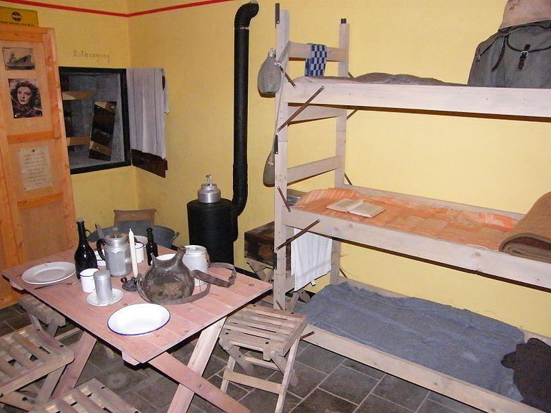 Reconstruction of a crew room used by German soldiers. Bunker Museum IJmuiden, Holland.