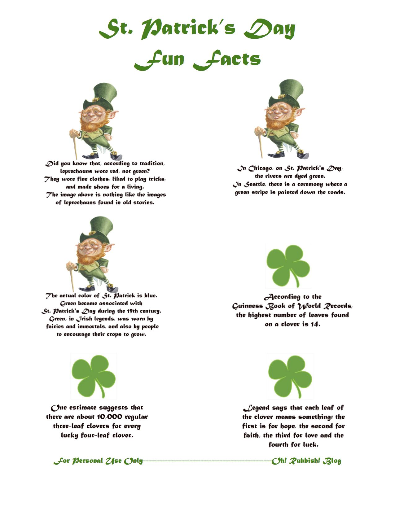 St Patrick S Day Fun Facts Lunchbox Notes Printable Oh