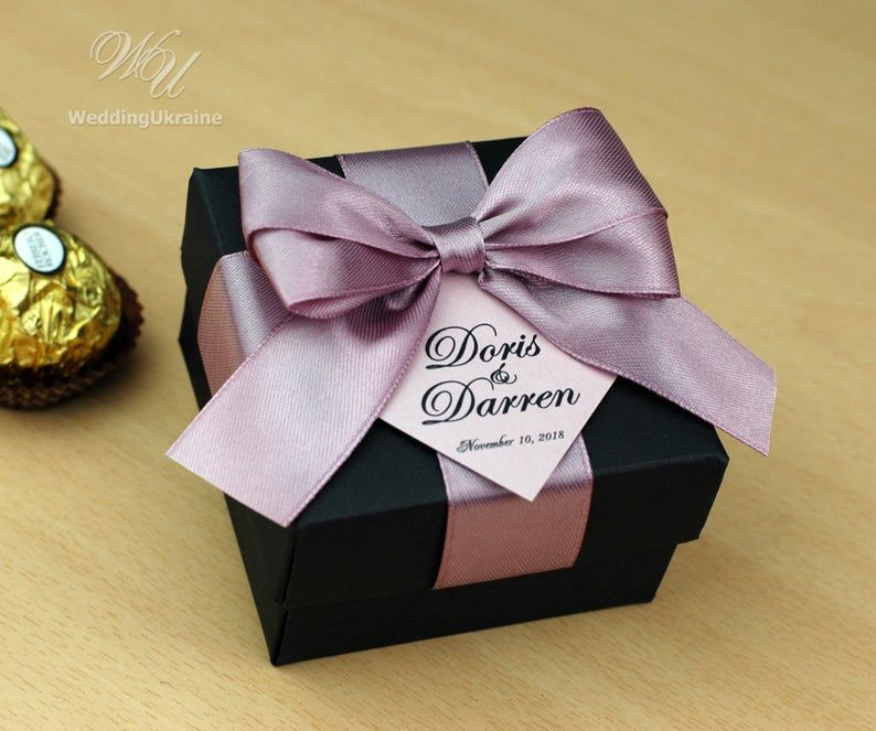 Dusty Rose wedding favor gift box with satin ribbon bow