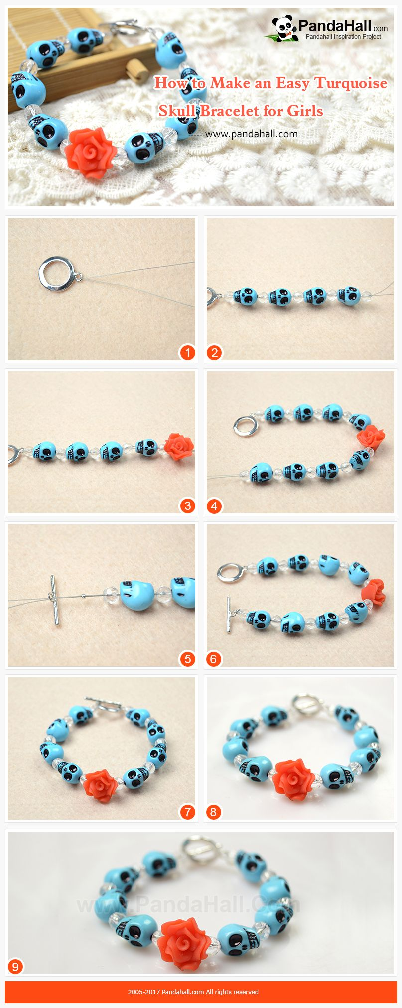 how to make cool flower skull beads bracelet just slide the glass