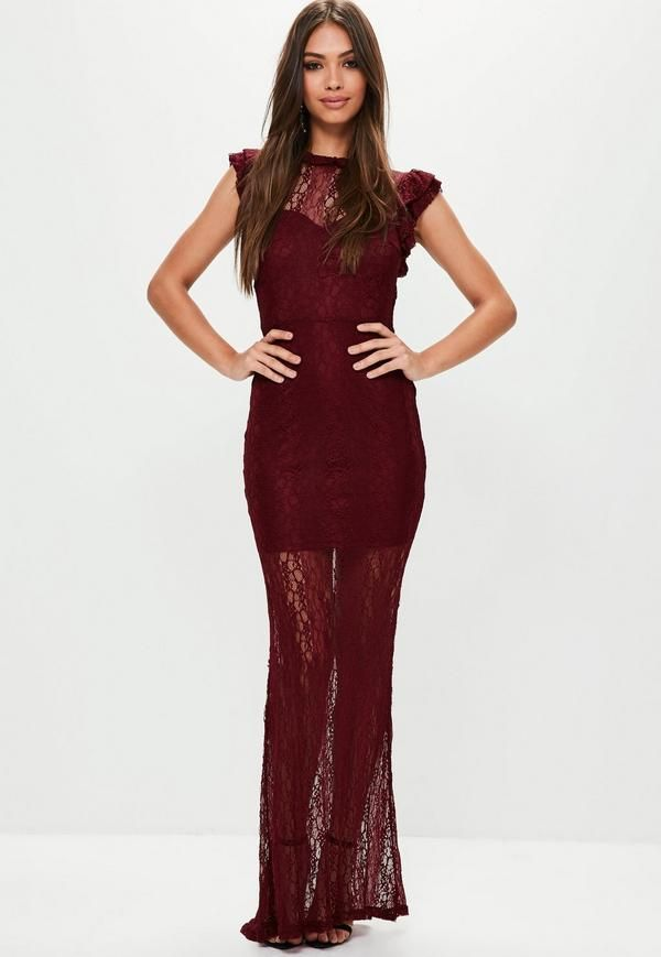 85fa085e93b Wine red lace maxi dress with high