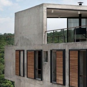 Contemporary House With Two Story Home Design And  · ClubhousesPorchConcrete
