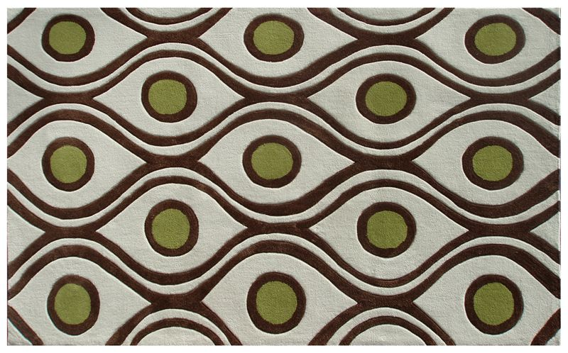 Rug market demetrius cream brown olive green area rug 5 x for Green and cream rugs