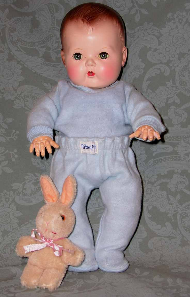 "1950s baby doll auction | 1950s NITEY NITE Doll Pajamas -- Heavy Knit - 13"" -14"" BABY Blue"