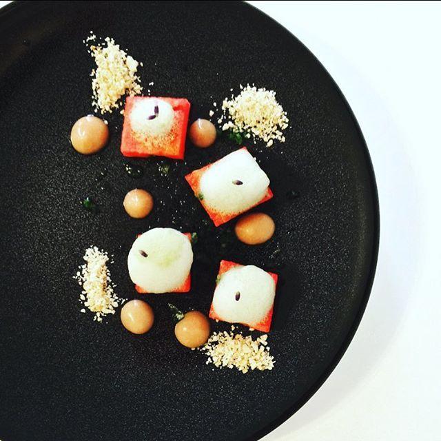 Fresh watermelon served with basil foam, frozen cucumber, rhubarb coulis and crunchy peanut.  #instafood #TheArtOfPlating #foodporn #foodstagram  #vegetarian #kitchen #gastronomy #chef #chefstalk #chefsroll #foodart #foodphotography #gastroart #expertfood