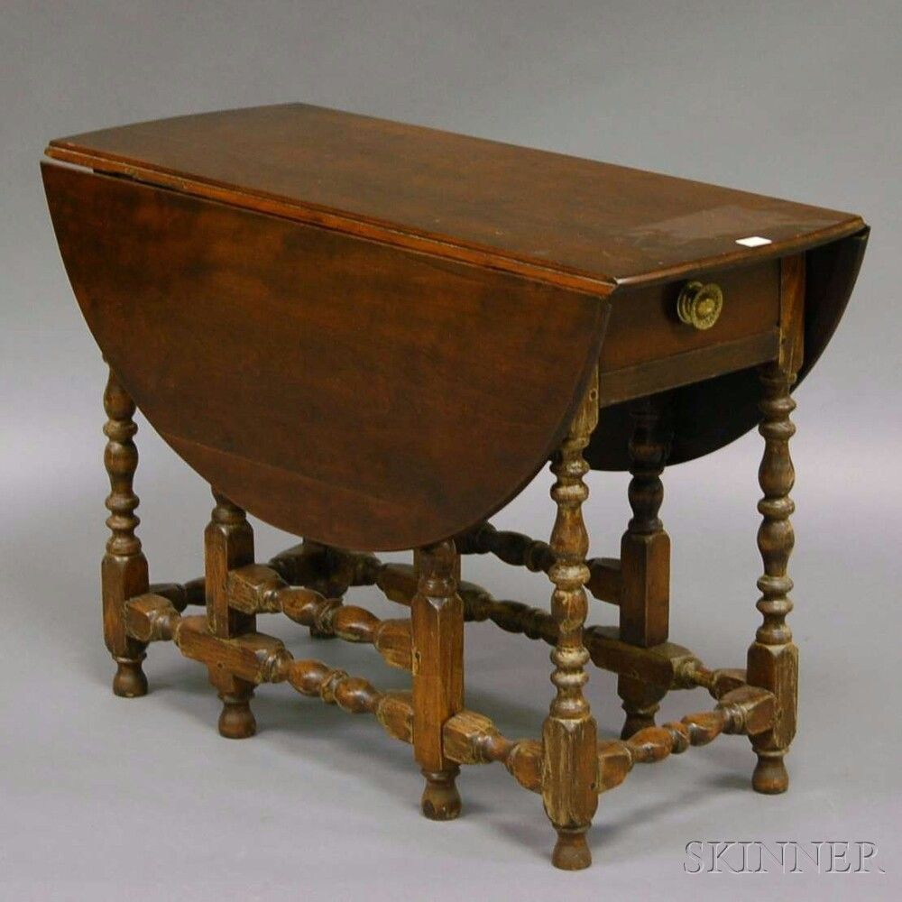 Georgian furniture characteristics - William And Mary Style Beechwood Table Characteristic Drop Leaf Gate Leg Tablefurnitureauction