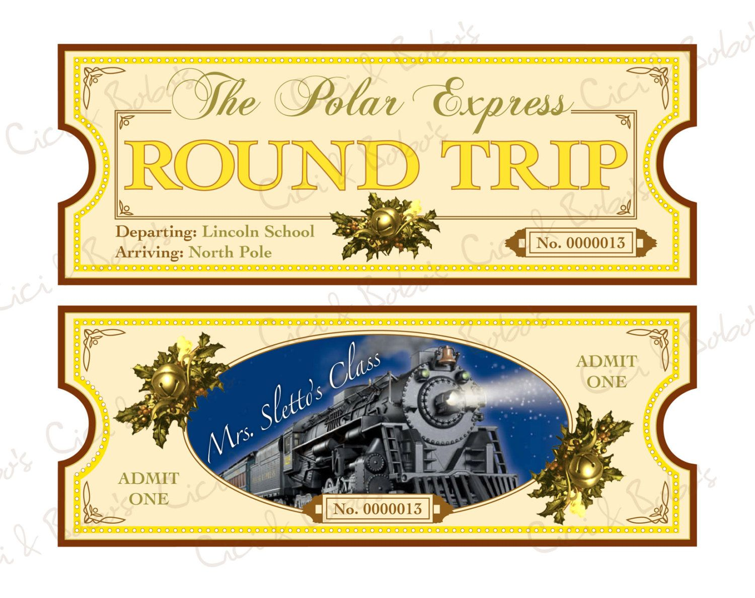 Polar Express Theme DIY Printable Ticket By Cici by CiciandBobos – Ticket Template for Pages