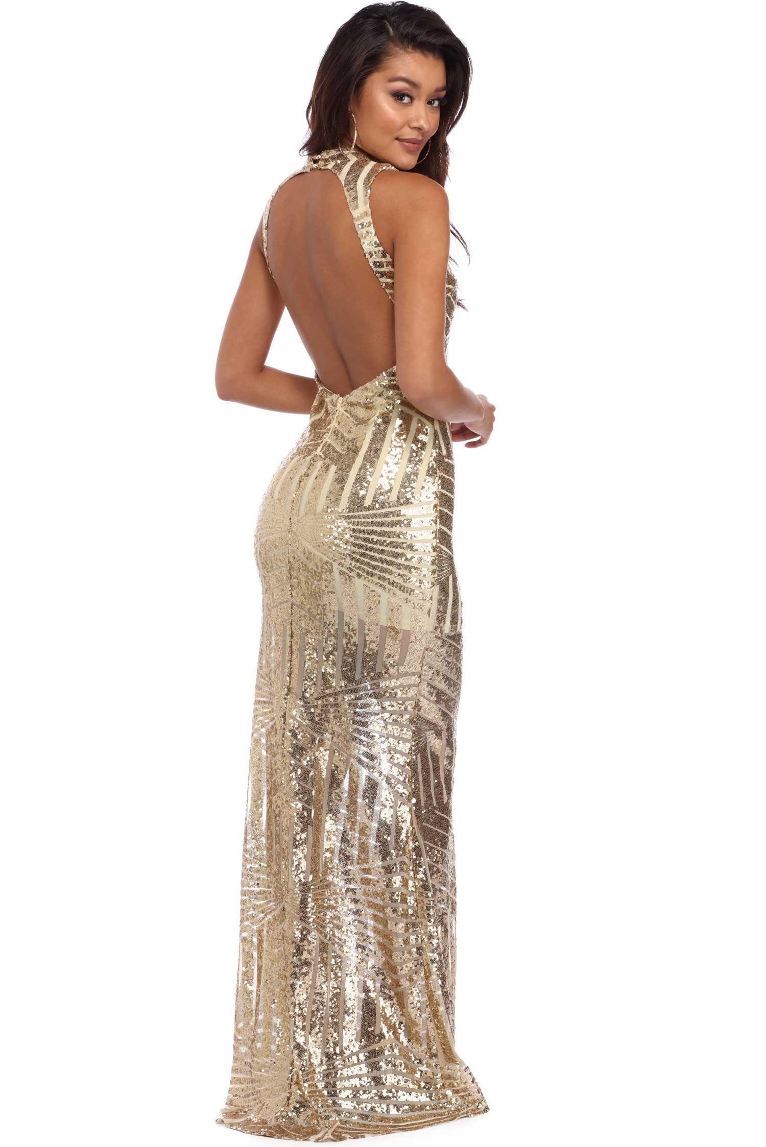 Sanae Gold Sequin Embellished Dress Windsor Embellished Dress Backless Dress Formal Windsor Dresses Prom [ 2247 x 1500 Pixel ]