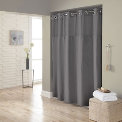 Hookless Waffle 72 X 98 Fabric Shower Curtain In Dark Grey