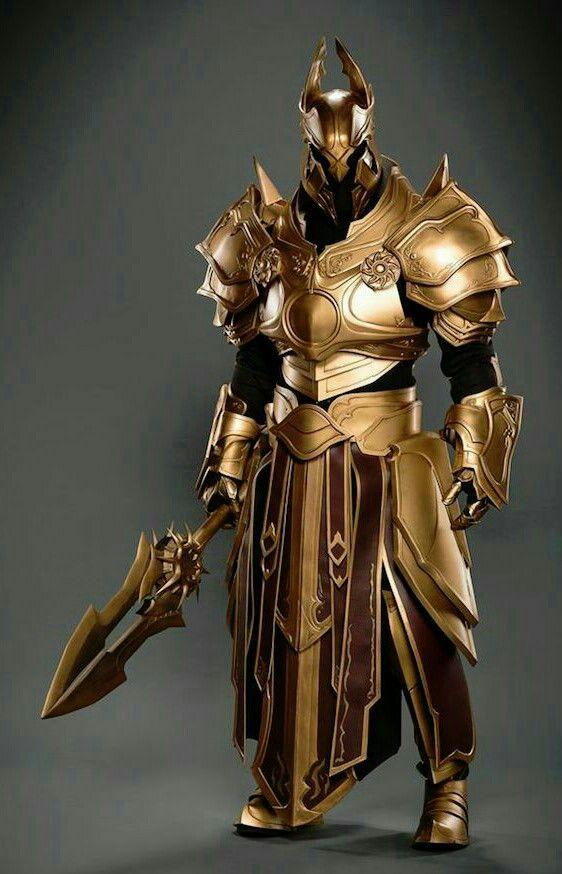 a1d511afd1f Human Fighter Knight Golden Armor - Pathfinder PFRPG DND D D d20 fantasy