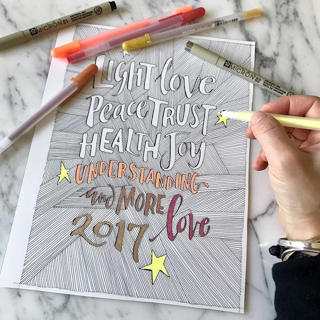 Hi everyone, this is Samantha Dion Baker, and I'm honored to be the guest poster for @sakuraofamerica this week! I hope you enjoy following along, as I share some of my journal pages and artwork that I've created using my favorite Sakura tools. Here's artwork I made to send good vibes out for 2017 - all of the black lines were drawn with #PigmaMicron pens, and I've been having fun coloring it in using metallic and fluorescent #GellyRoll pens. Happy New Year! @sdionbakerdesign