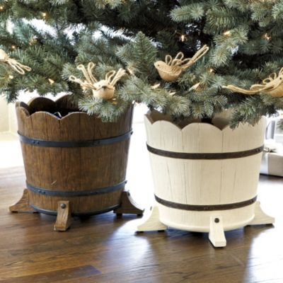 Barrel Planter Christmas Tree Stand Holiday Accessories Ballard Designs I Love Thi Christmas Tree Stand Live Christmas Trees Christmas Decorations Rustic