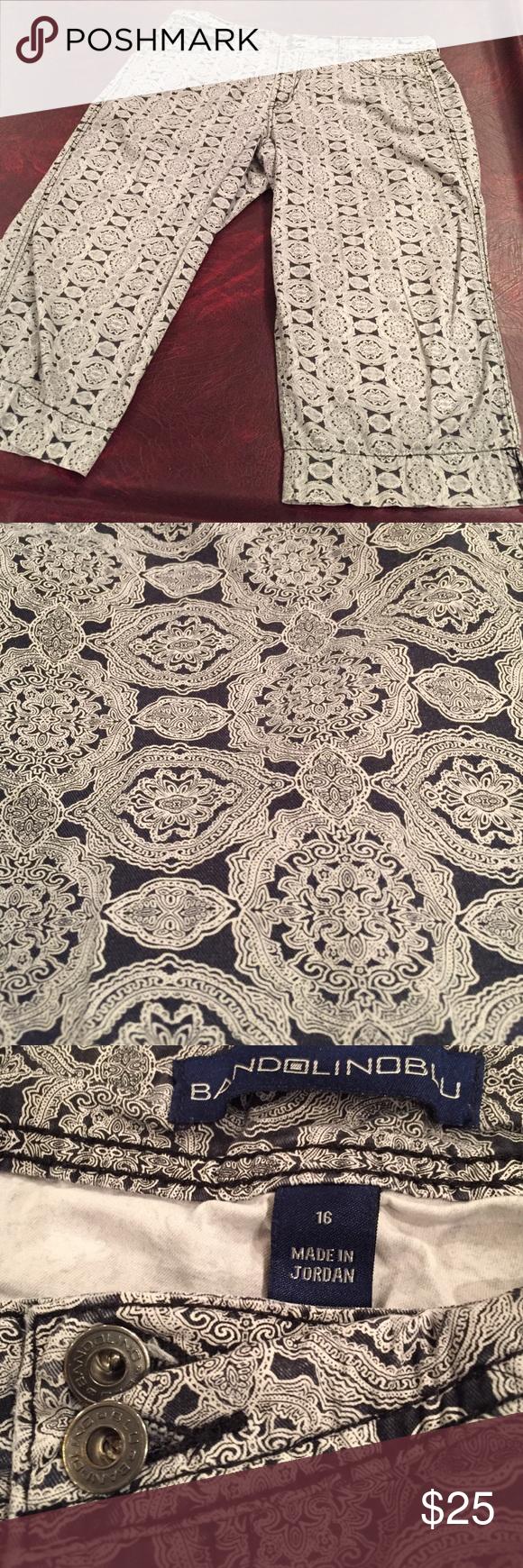 Bandolino blu crop patterned pants/vertical stripe Vertical stripe illusion in these beautiful patterned pantscreate a slimming line in a cute patterned pant. Bandolino Pants Ankle & Cropped