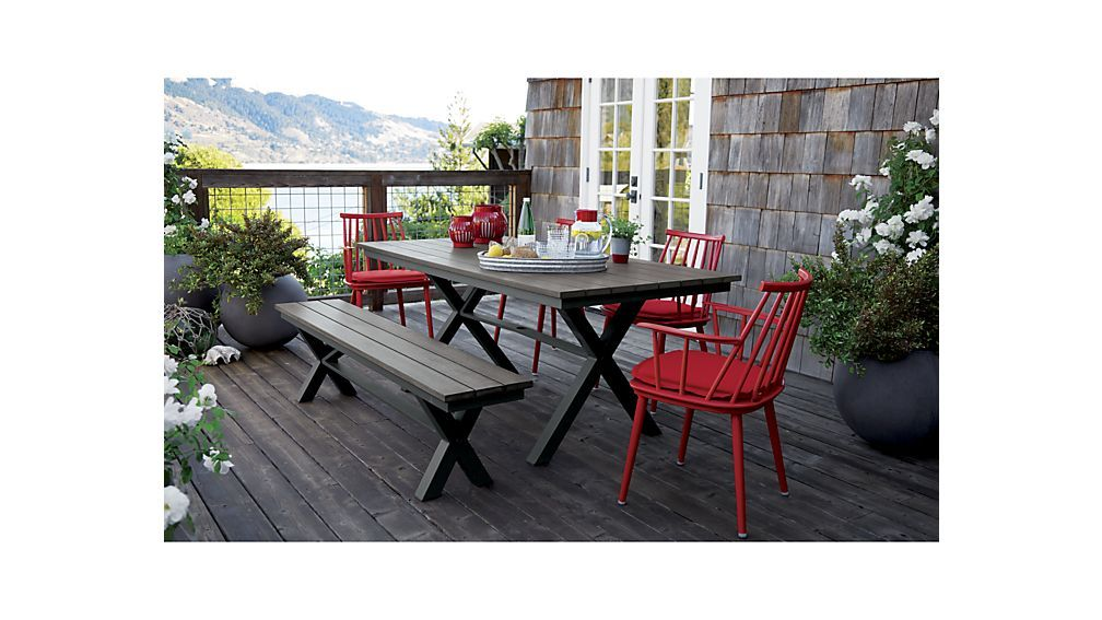 Union Red Dining Arm Chair With Sunbrella R Cushion