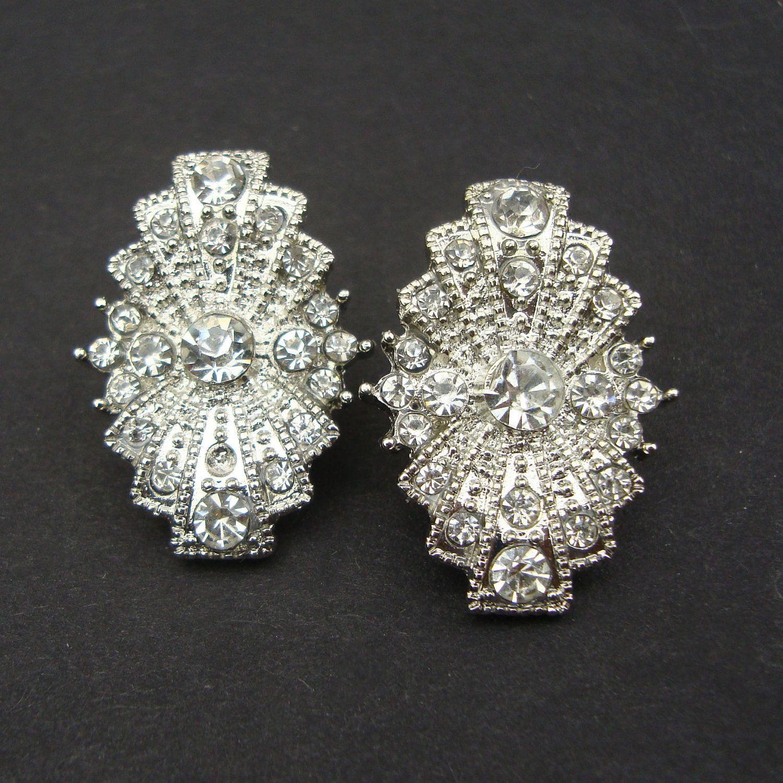 Art Deco Style Bridal Wedding Earrings Vintage Rhinestone Stud Antique Silver
