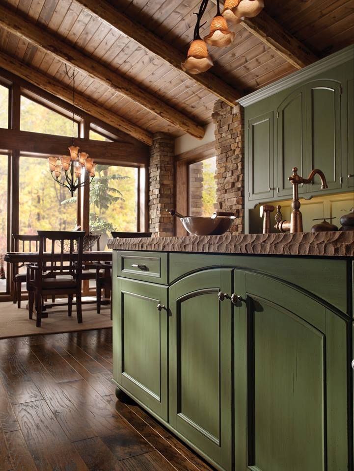 Rustic Cabin In The Woods With Exquisite, Natural Bar Top And Beautiful  Forest Green Wood. Custom Kitchen CabinetsCustom ...