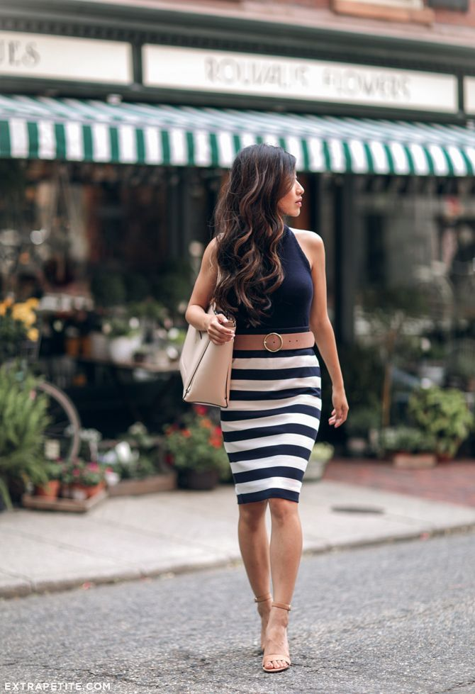 b8c5438b6894a elegant navy striped skirt + tan suede shoes    from Boston fashion blog  www.extrapetite.com