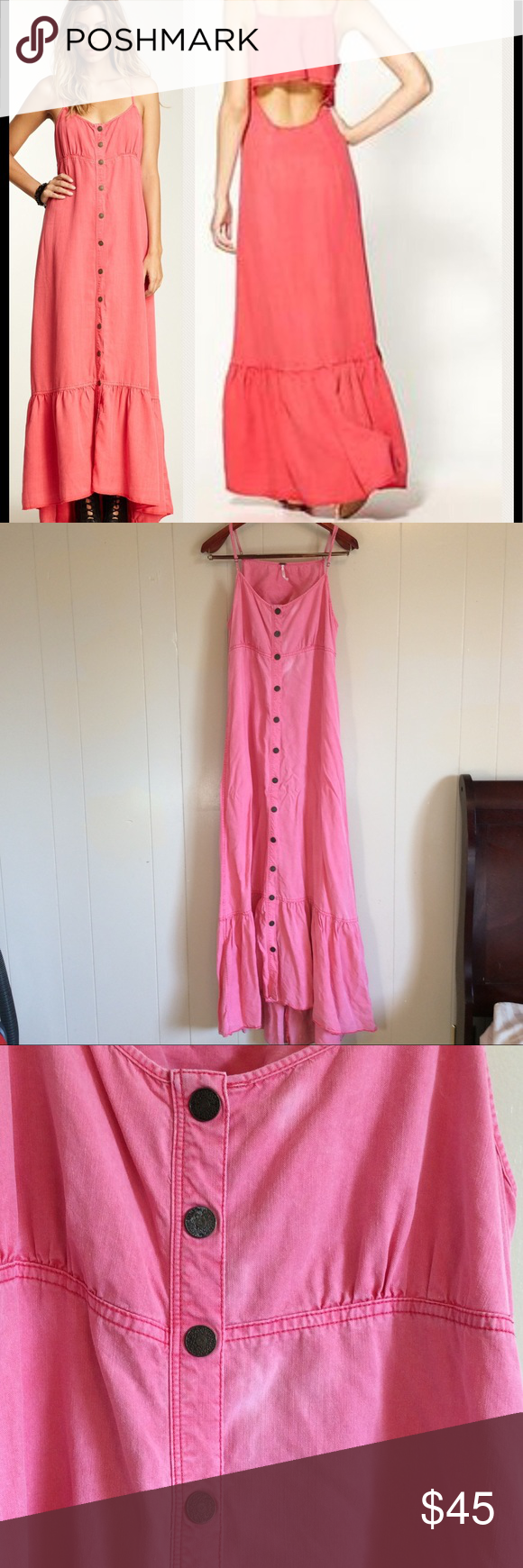 Large free people tencel maxi dress open back salmon pink color