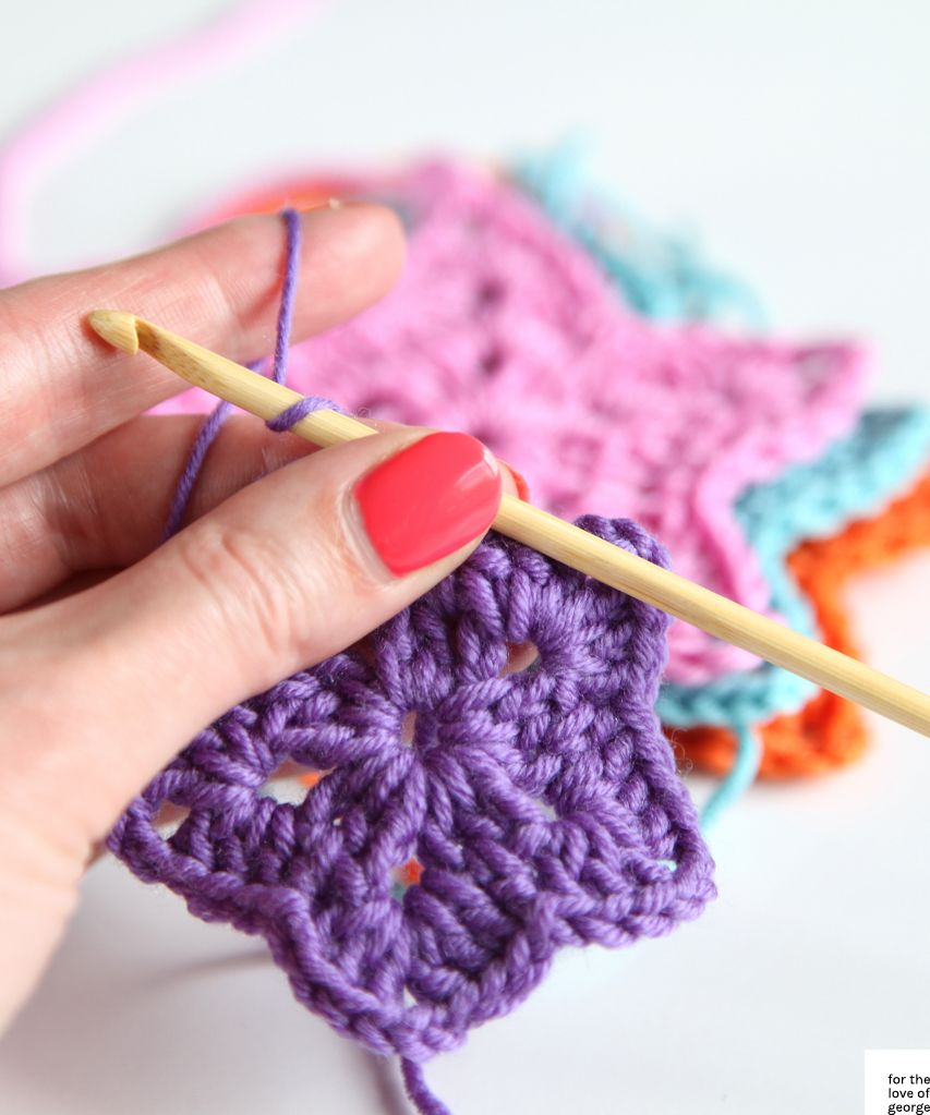 Colourful Christmas crochet stars on For the Love of George | words ...