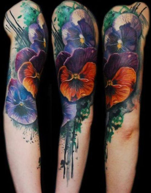 Dark pansy watercolored tattoo