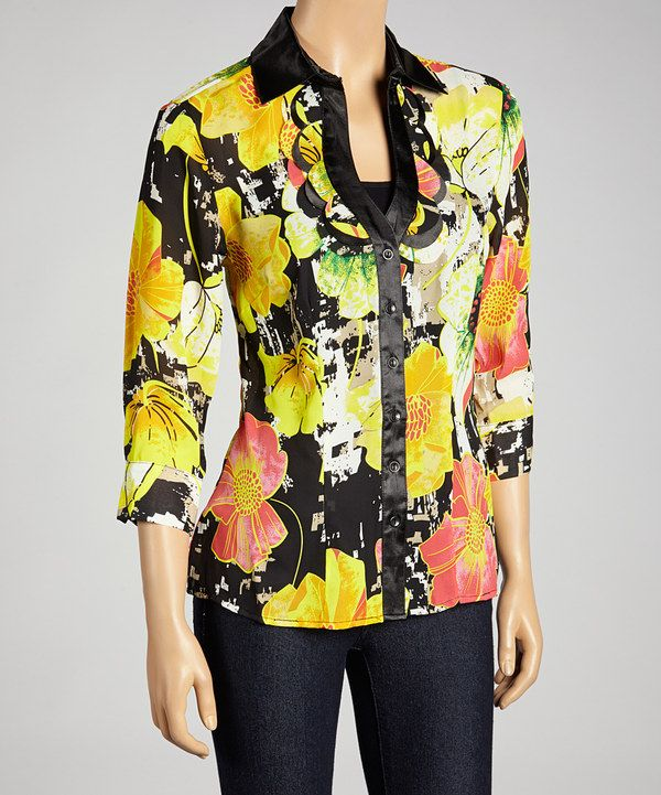 Look what I found on #zulily! Black & Yellow Flower Button-Up by Piano #zulilyfinds