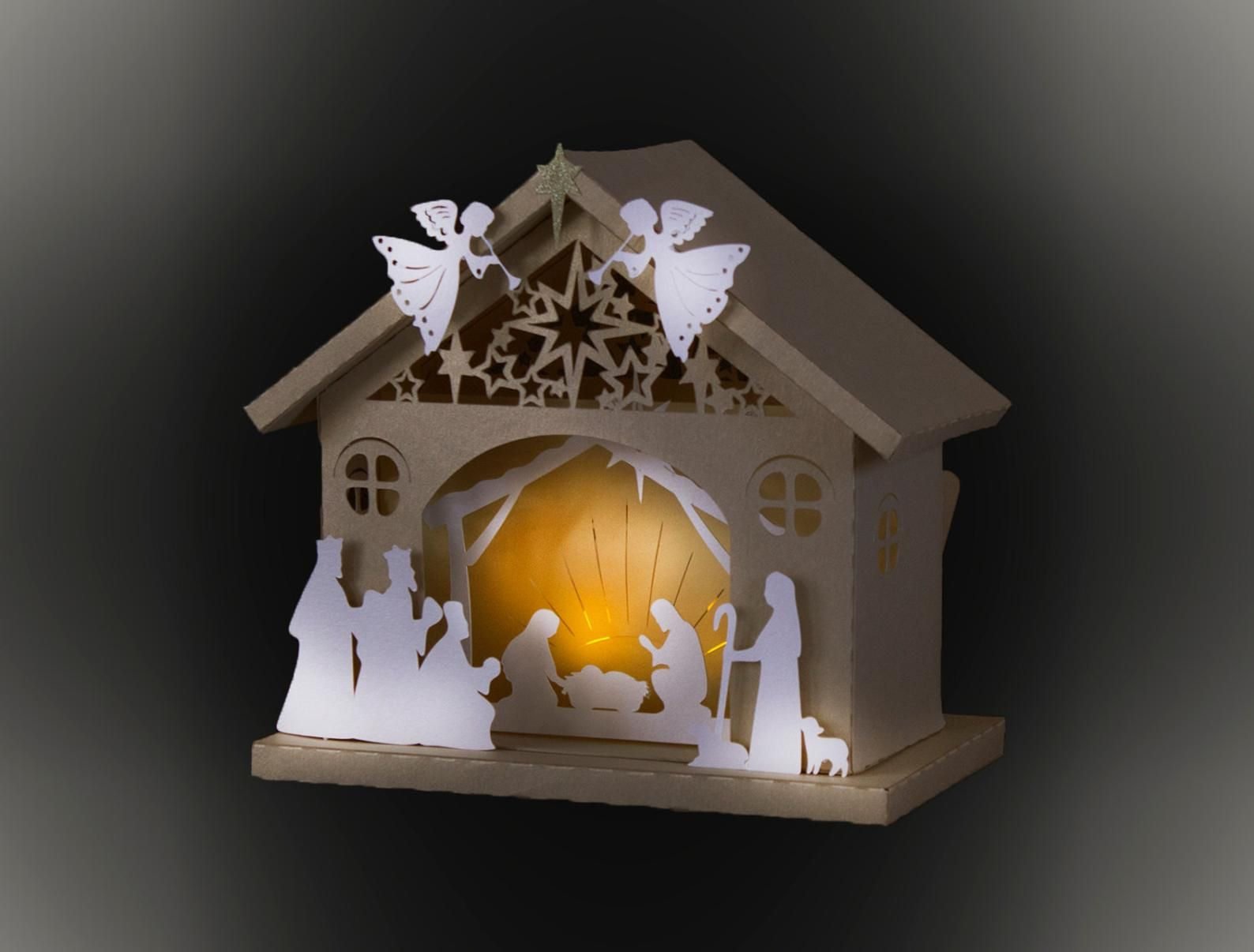 3d Nativity Barn Template In